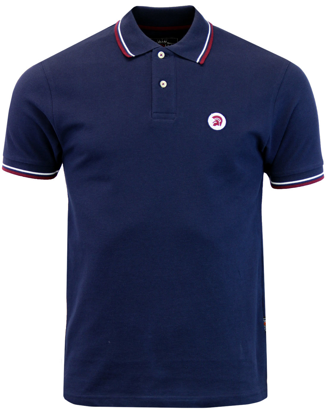 TROJAN RECORDS Mens Retro Mod Ska Tipped Polo NAVY