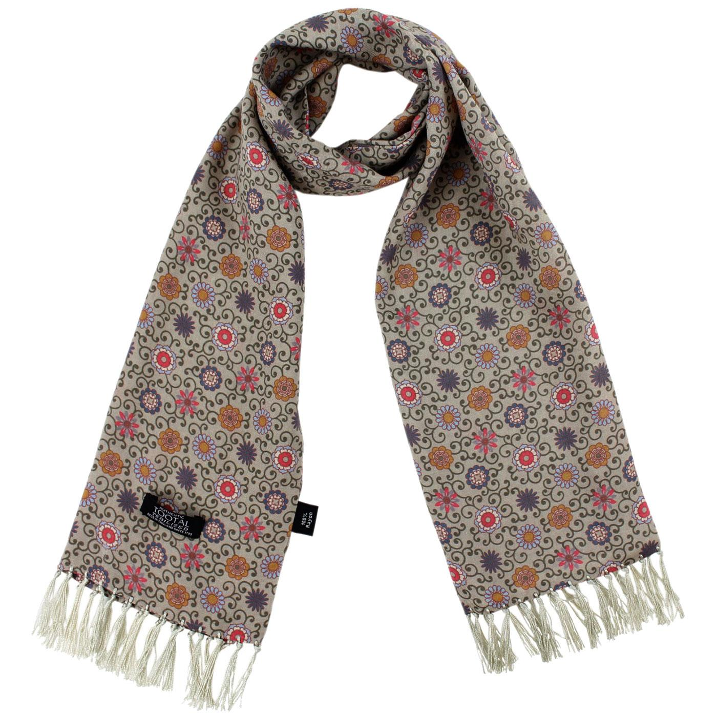 TOOTAL Mod Floral Daisy Chain Rayon Scarf STONE