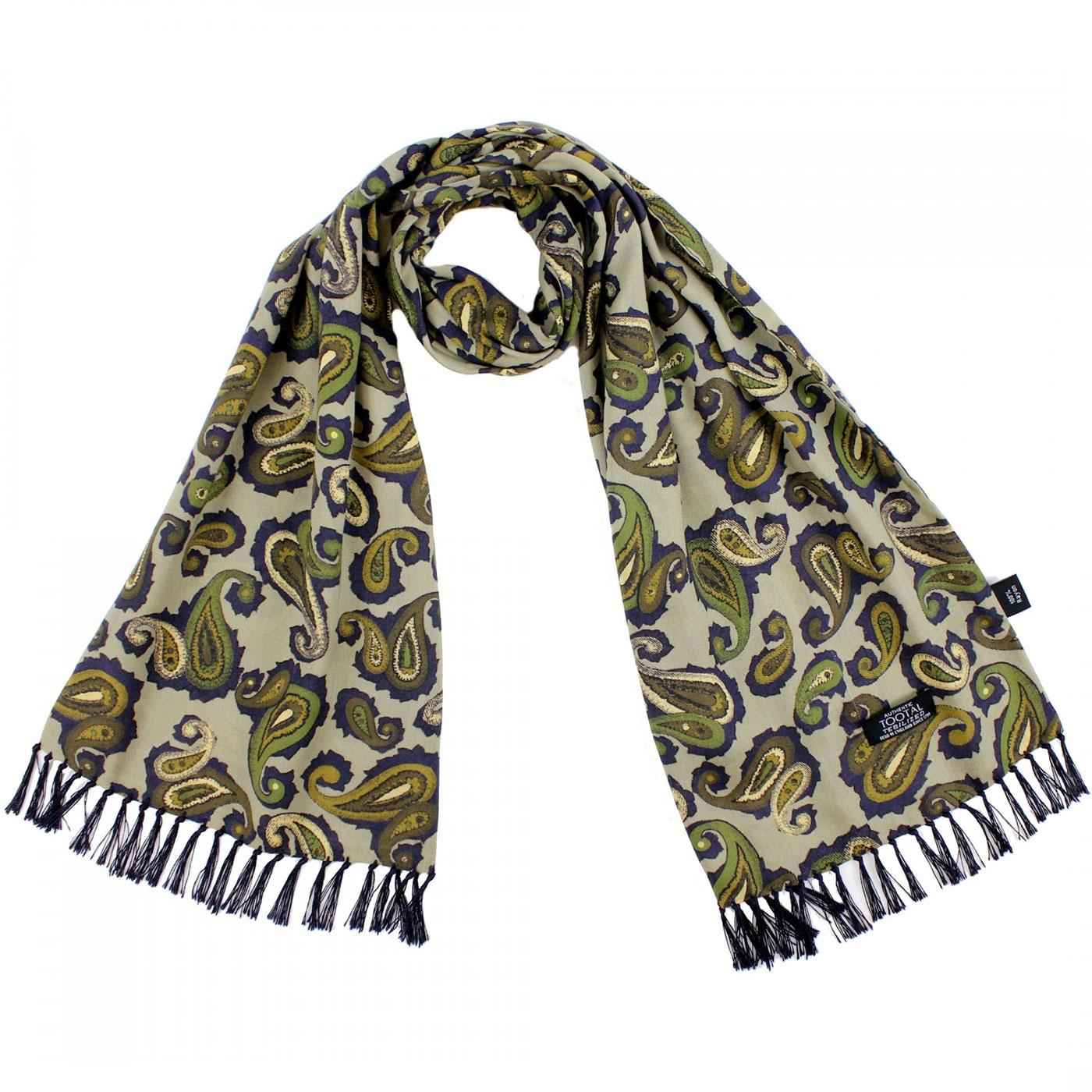 TOOTAL Retro Double Paisley Mod Scarf PARKA GREEN