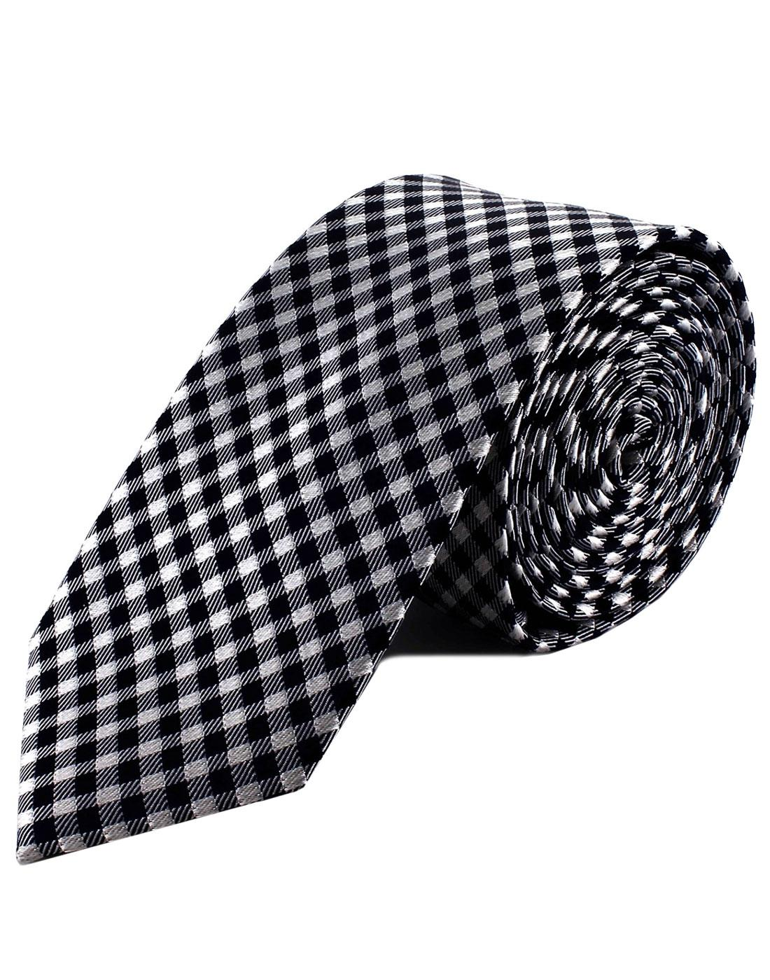 TOOTAL Retro Mod 60s Silk Gingham Tie in Navy