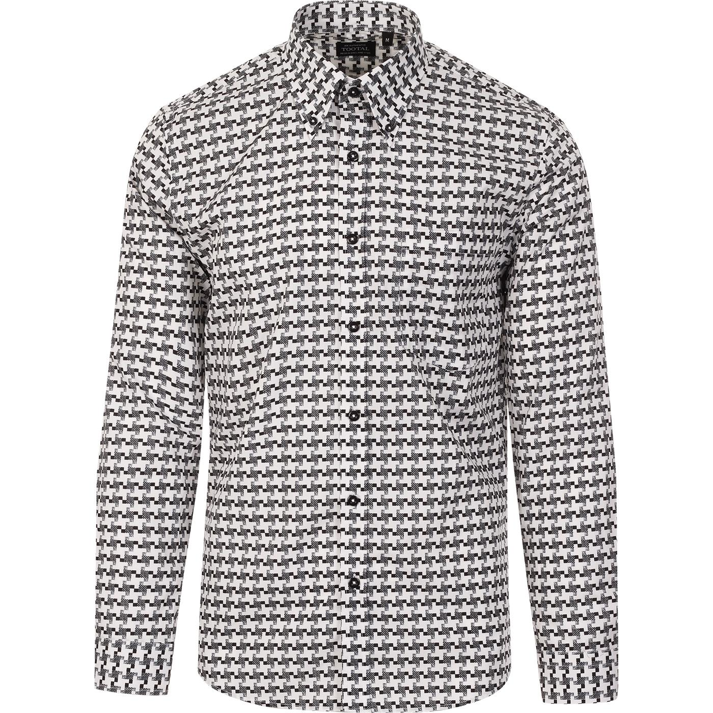TOOTAL Houndstooth Textured Check Retro Mod Shirt