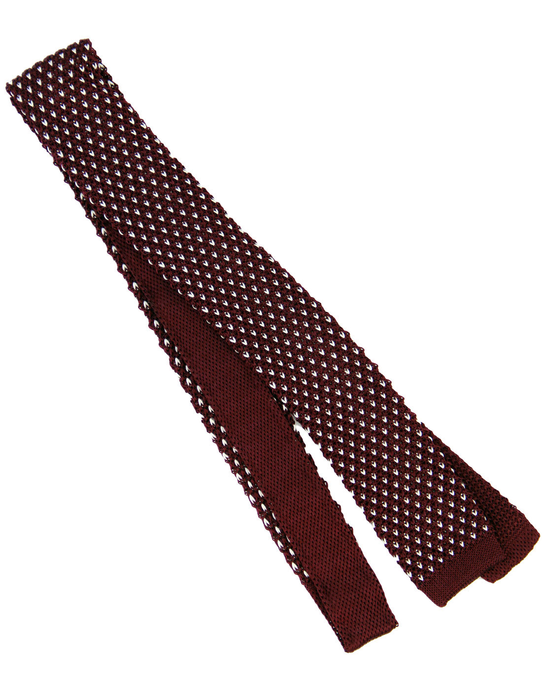 TOOTAL Retro 60s Mod Silk Knitted Dot Tie BURGUNDY