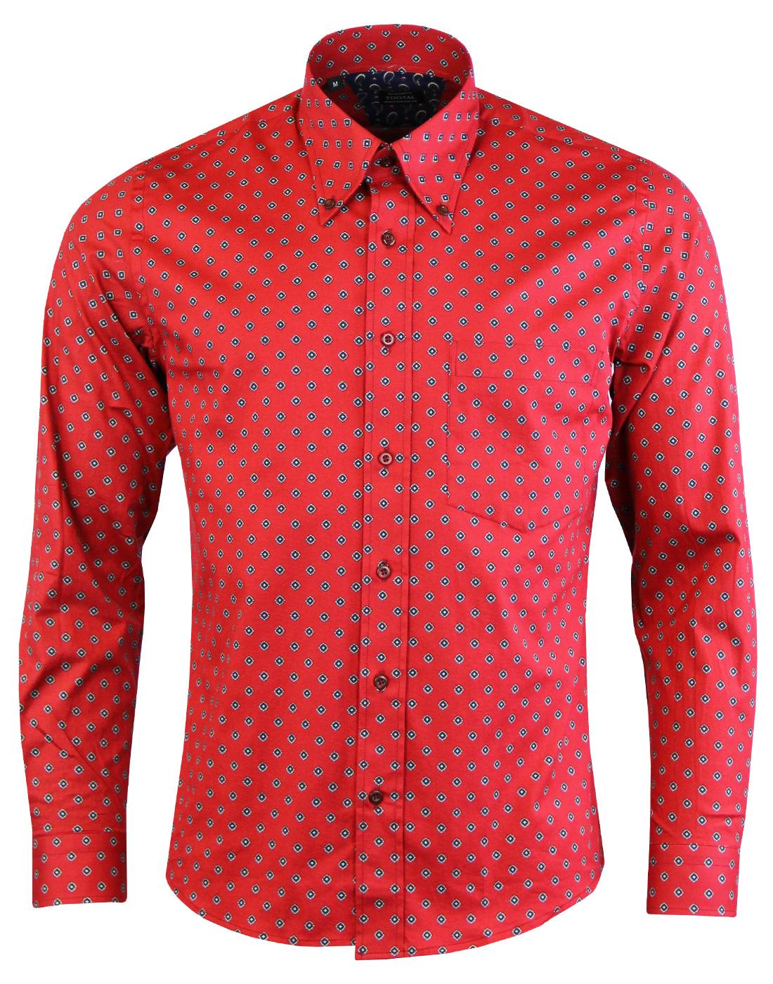 TOOTAL Retro Mod Geometric Print Button Down Shirt