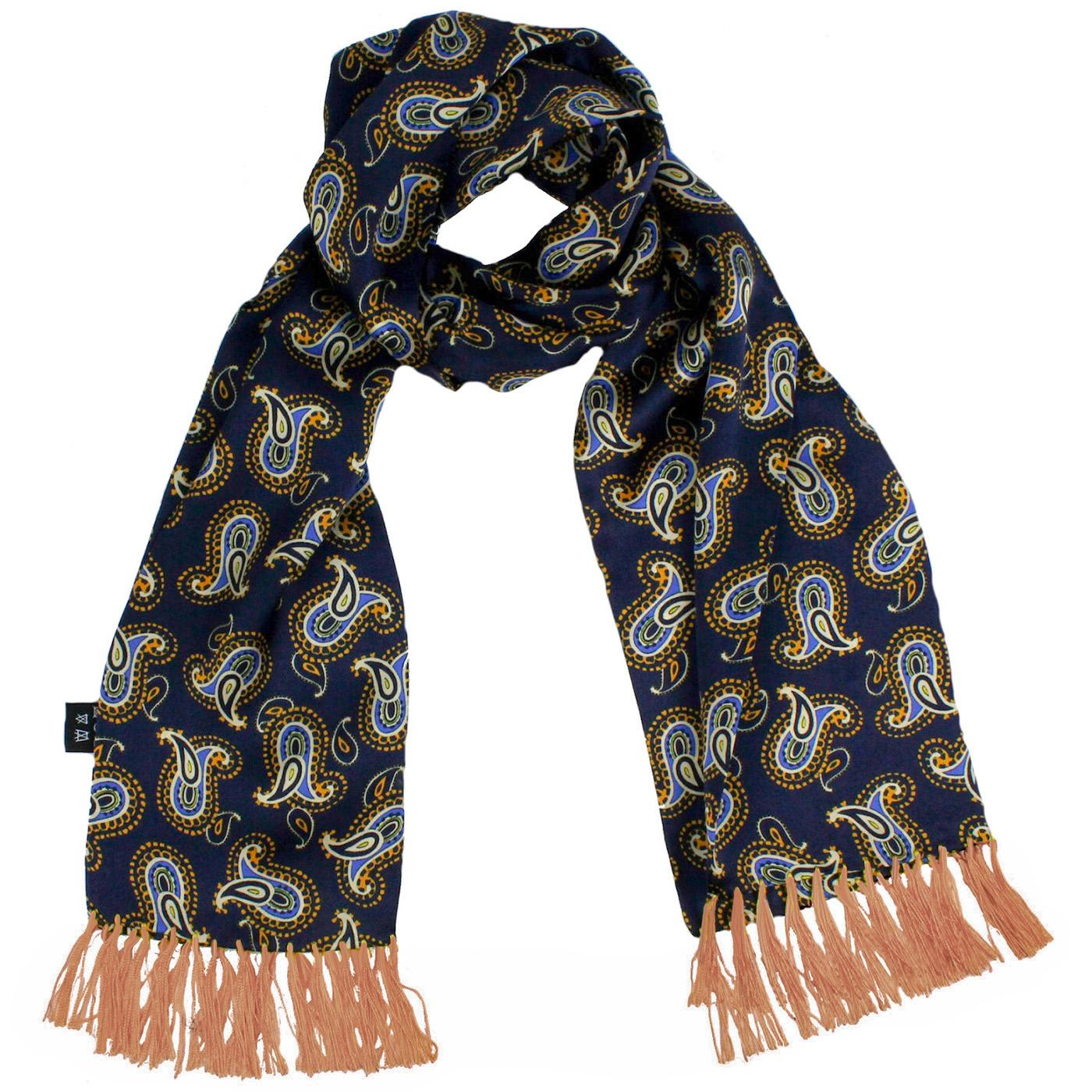 TOOTAL 60s Mod Large Paisley Motif Silk Scarf N/G