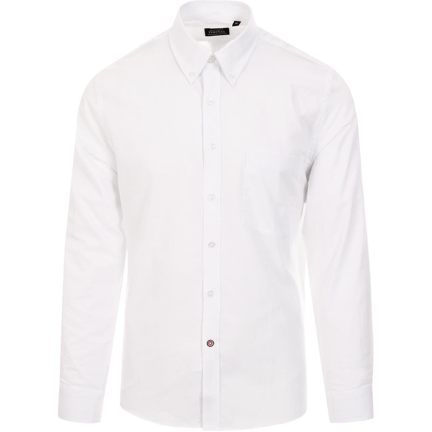 TOOTAL 60s Mod Button Down Oxford Shirt (White)