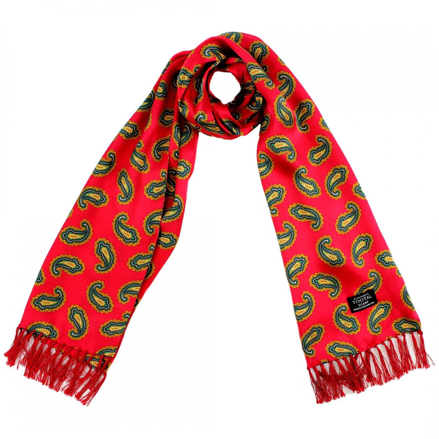 TOOTAL Retro Mod Bold Paisley Silk Scarf RED