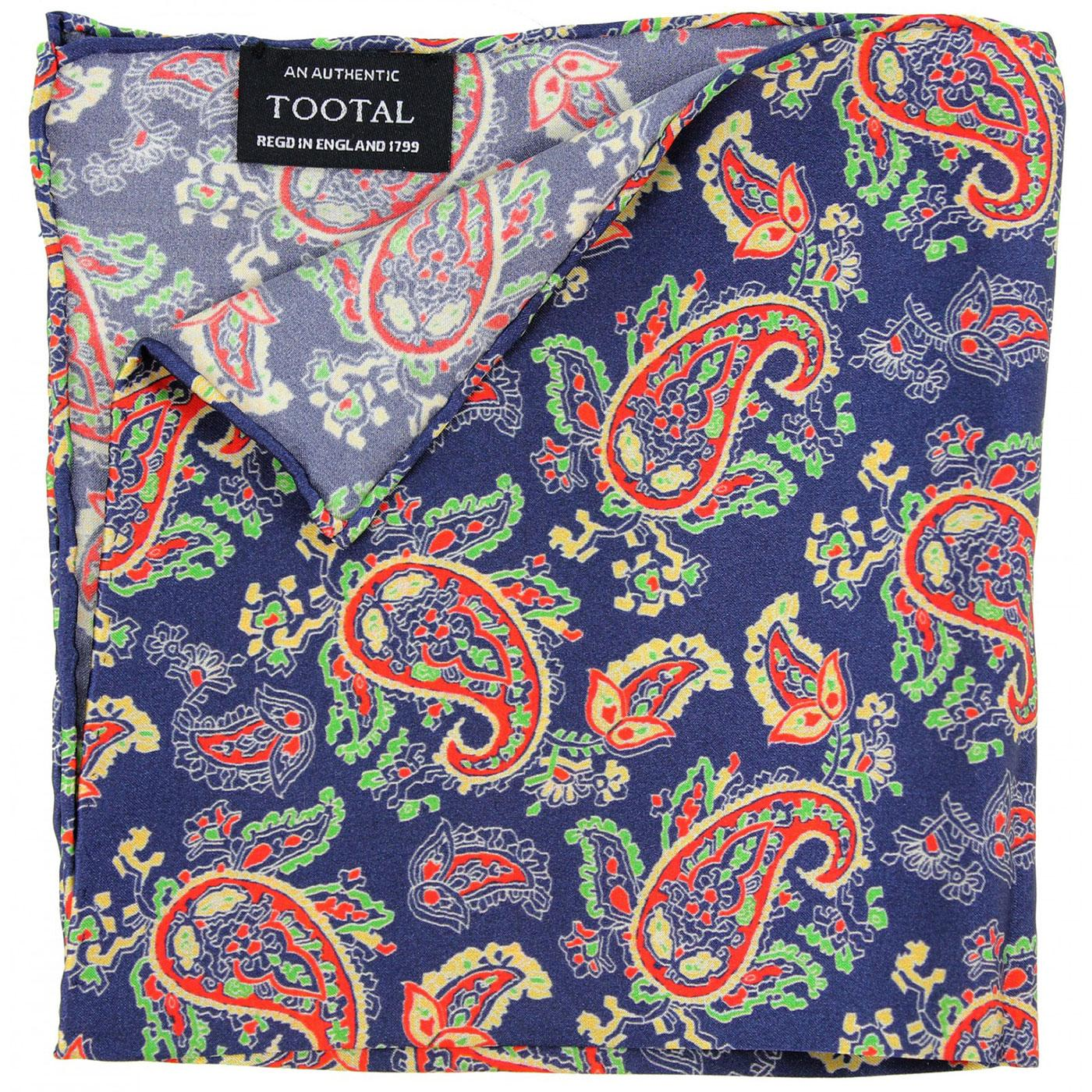 TOOTAL Retro Sixties Paisley Silk Pocket Square