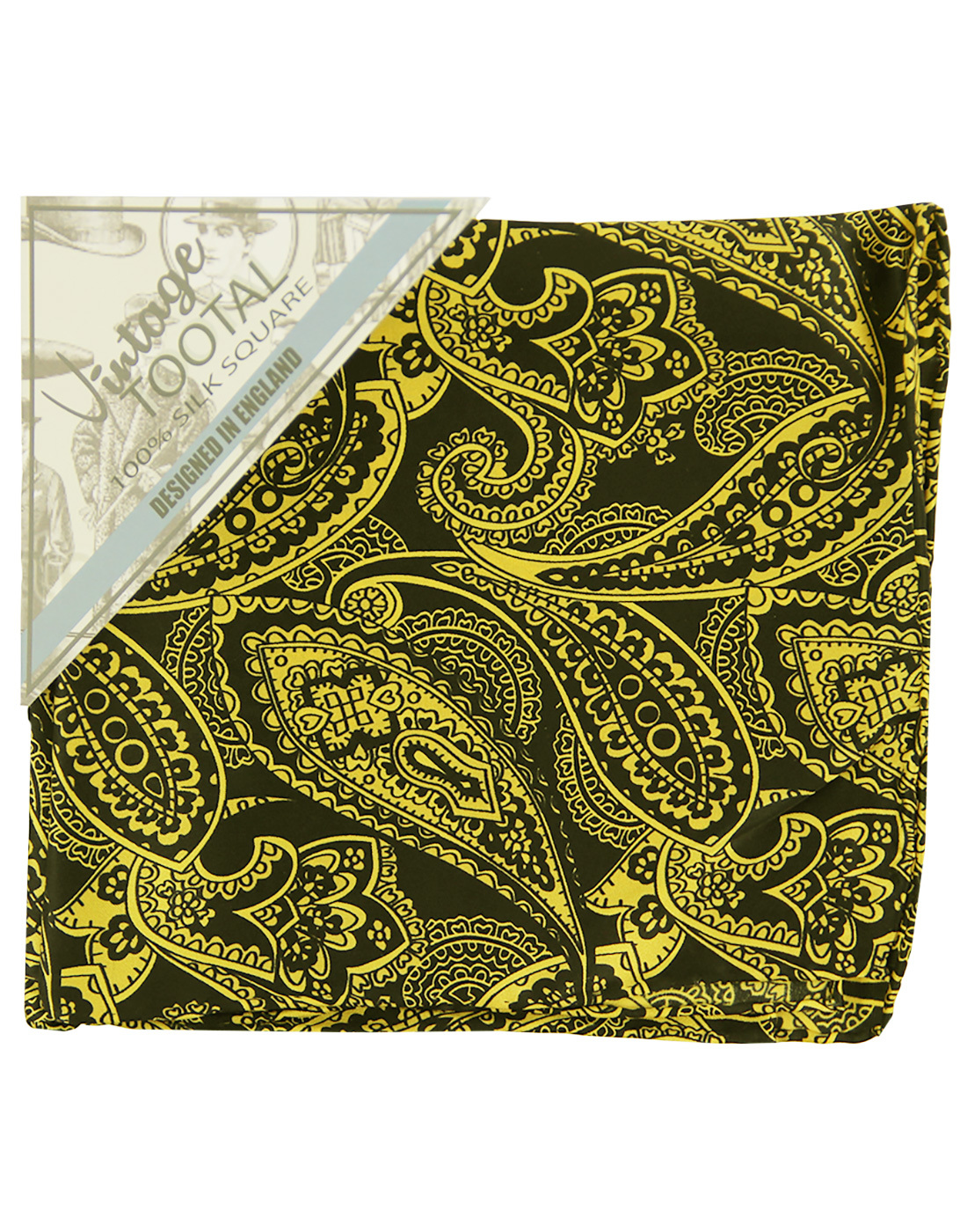 TOOTAL Sixties Floral Paisley Silk Pocket Square