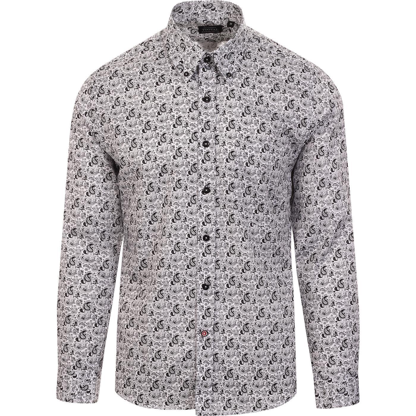 TOOTAL 60s Mod Paisley LS Button Down Shirt (W/B)