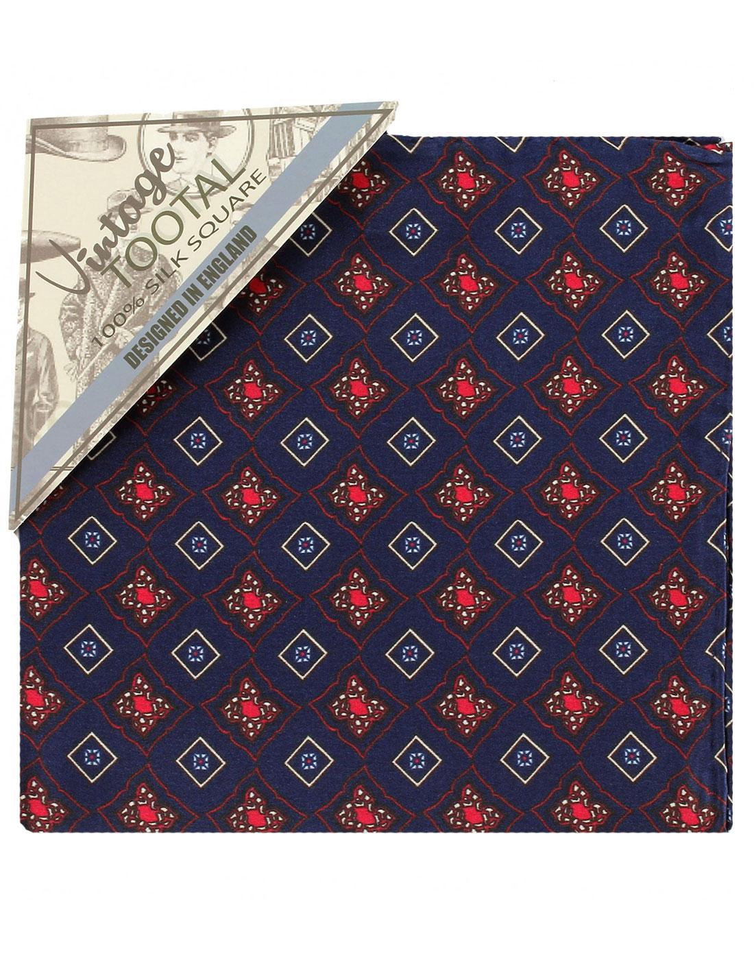 TOOTAL 60s Retro Mod Tile Silk Pocket Square Navy