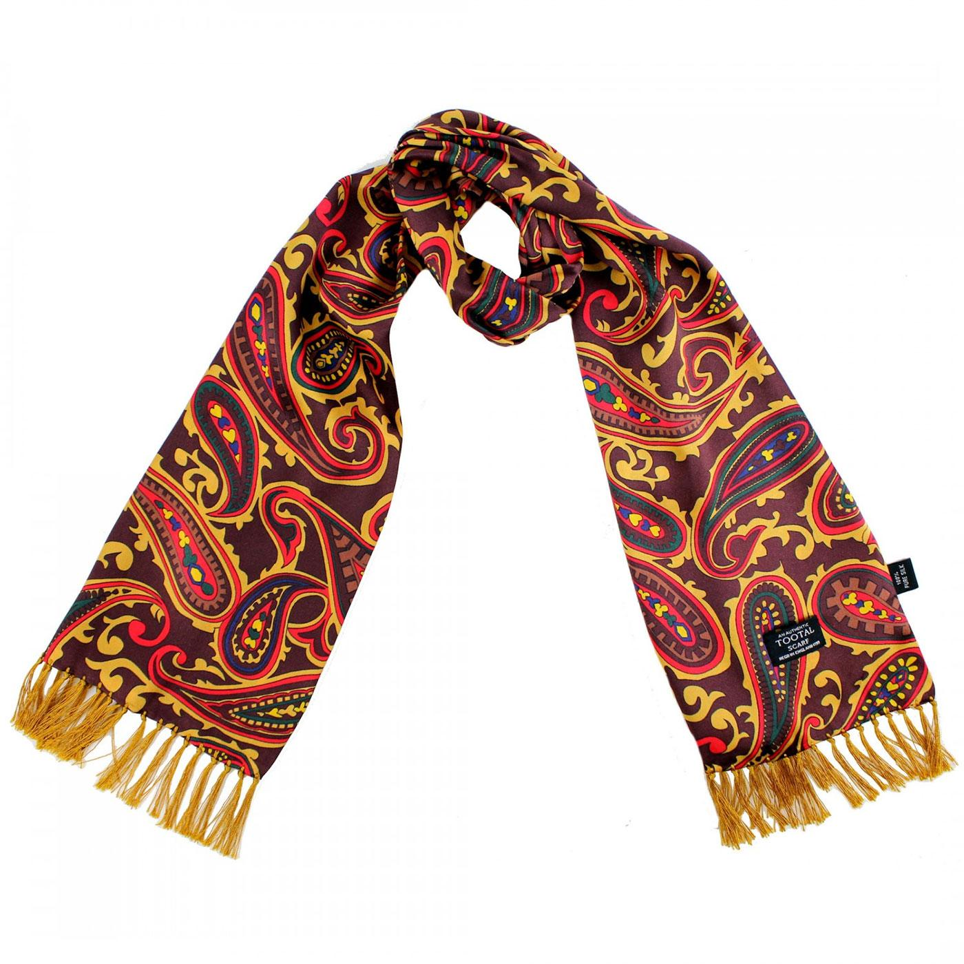 TOOTAL Sixties Mod Rich Paisley Silk Scarf OXBLOOD