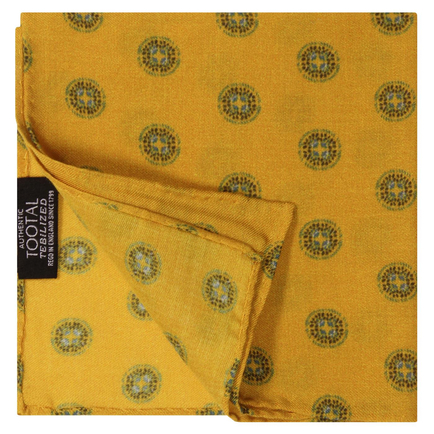 TOOTAL Retro Round Motif Pocket Square In Gold