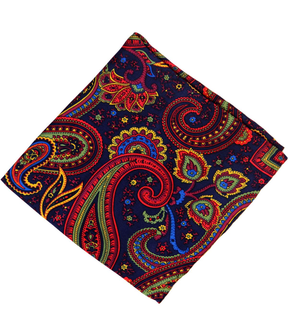 TOOTAL 1960s Mod Bright Paisley Silk Pocket Square