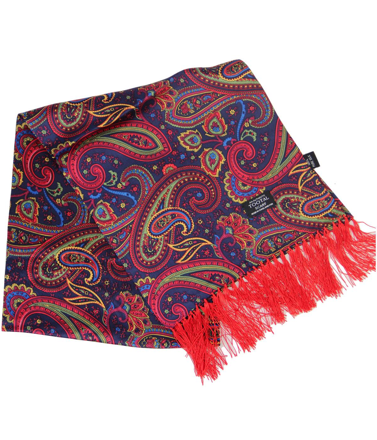 tootal retro 1960s mod bright paisley fringed silk scarf