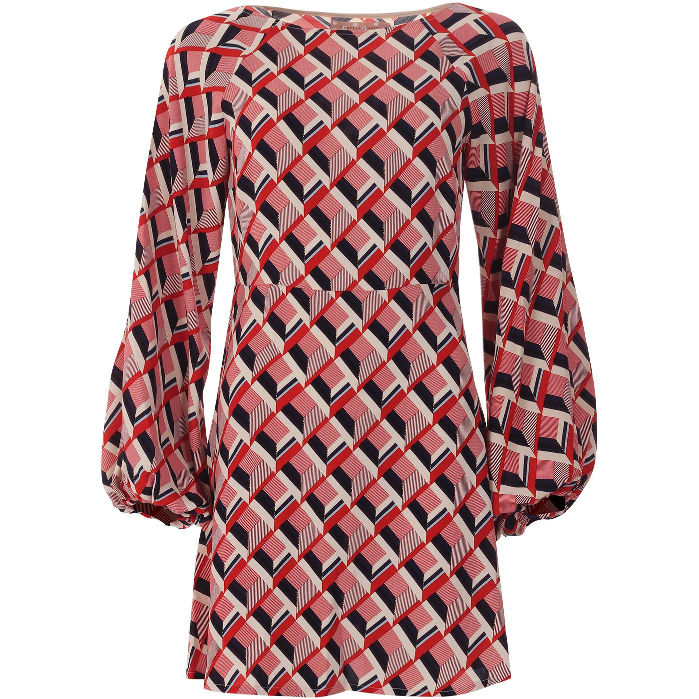 Audrey TRAFFIC PEOPLE 60s Mod Geo Pattern Dress