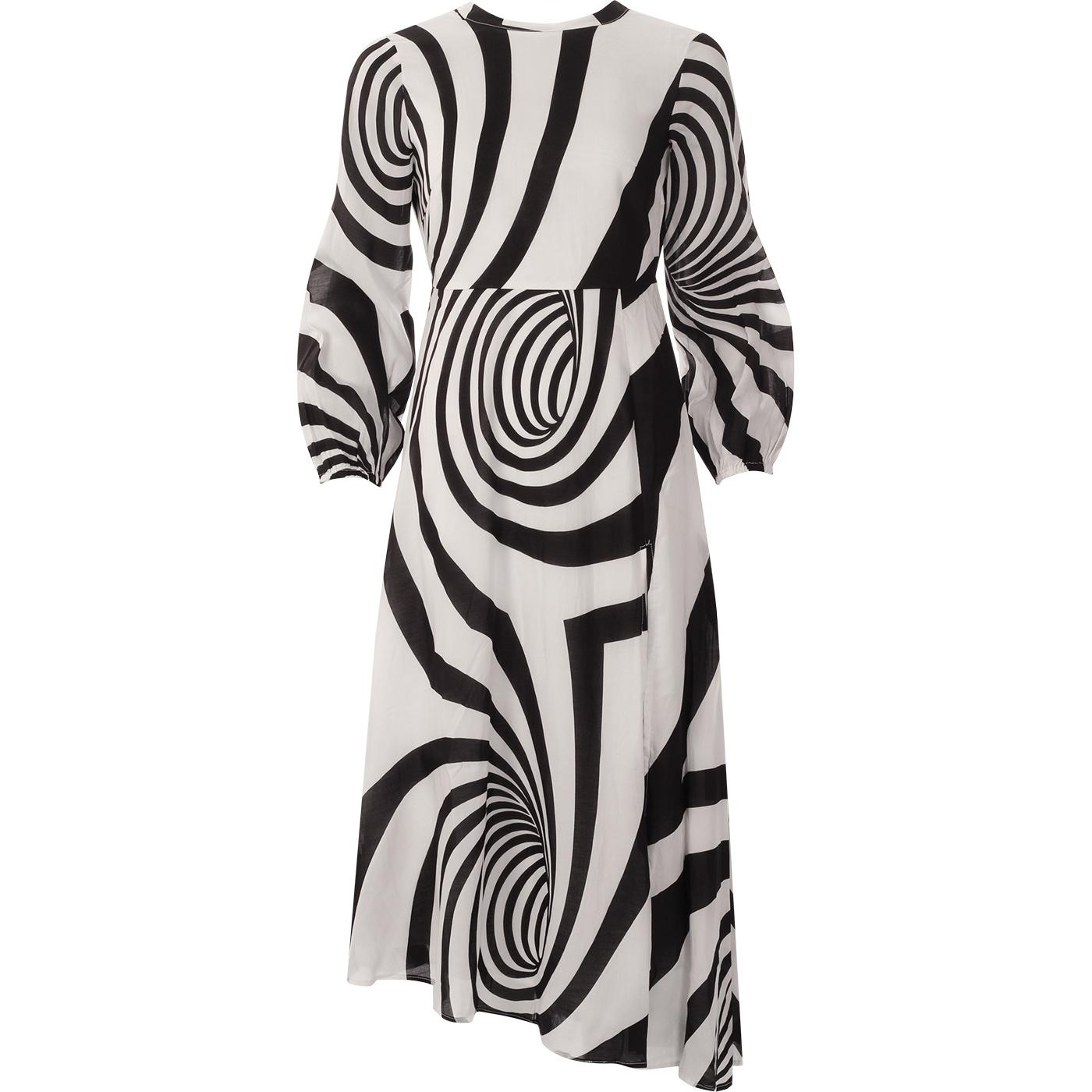 Dalliance TRAFFIC PEOPLE 1960s Op Art Swirl Dress