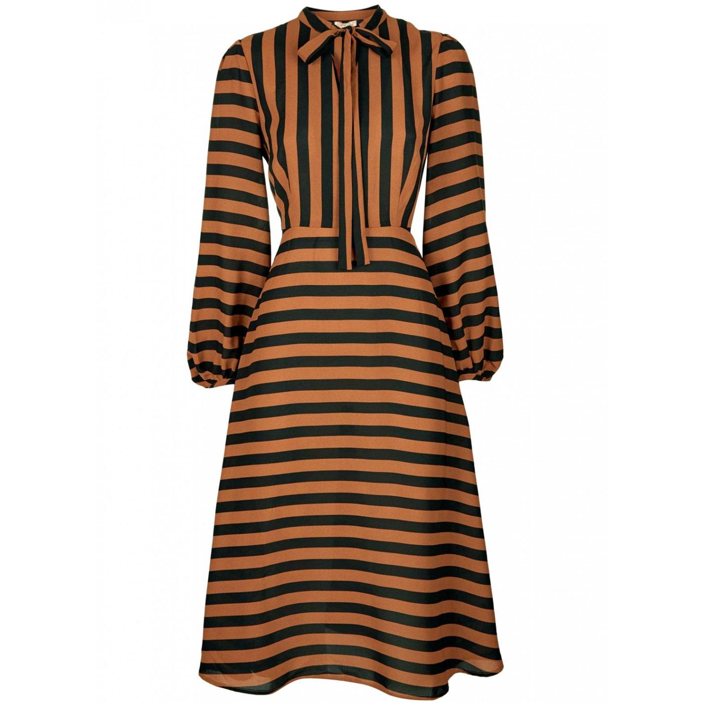 Audrey TRAFFIC PEOPLE Retro 70s Stripe Midi Dress