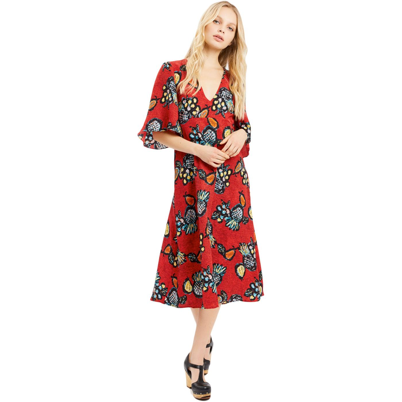 Blithe TRAFFIC PEOPLE Retro 60s Summer Dress Red