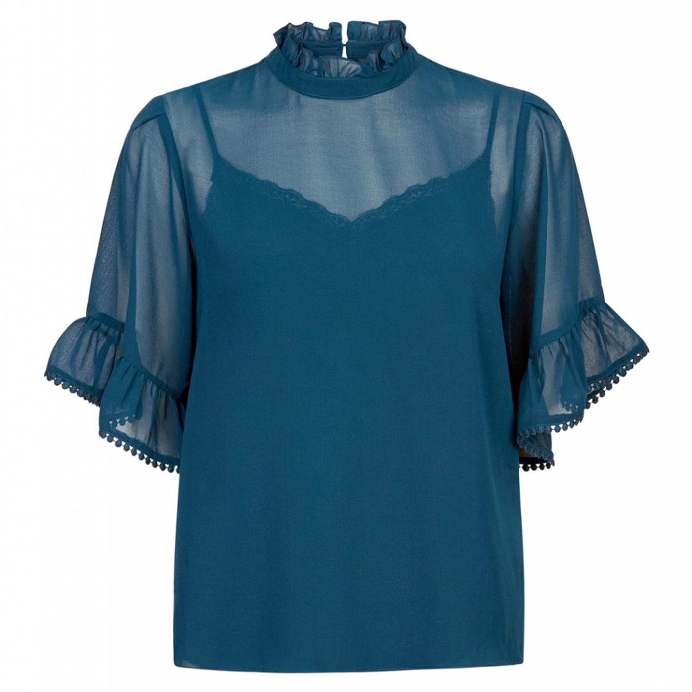 Bobble Top TRAFFIC PEOPLE Retro Sheer Top in Blue