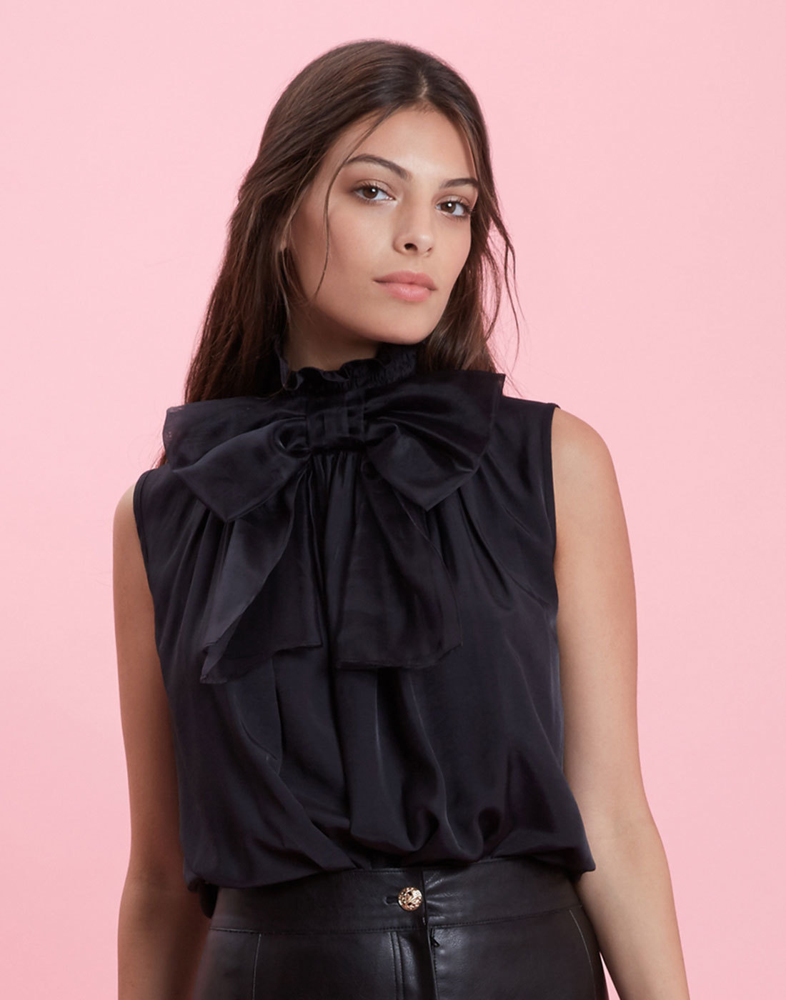 With A Bow On Top TRAFFIC PEOPLE Ruffle Neck Top