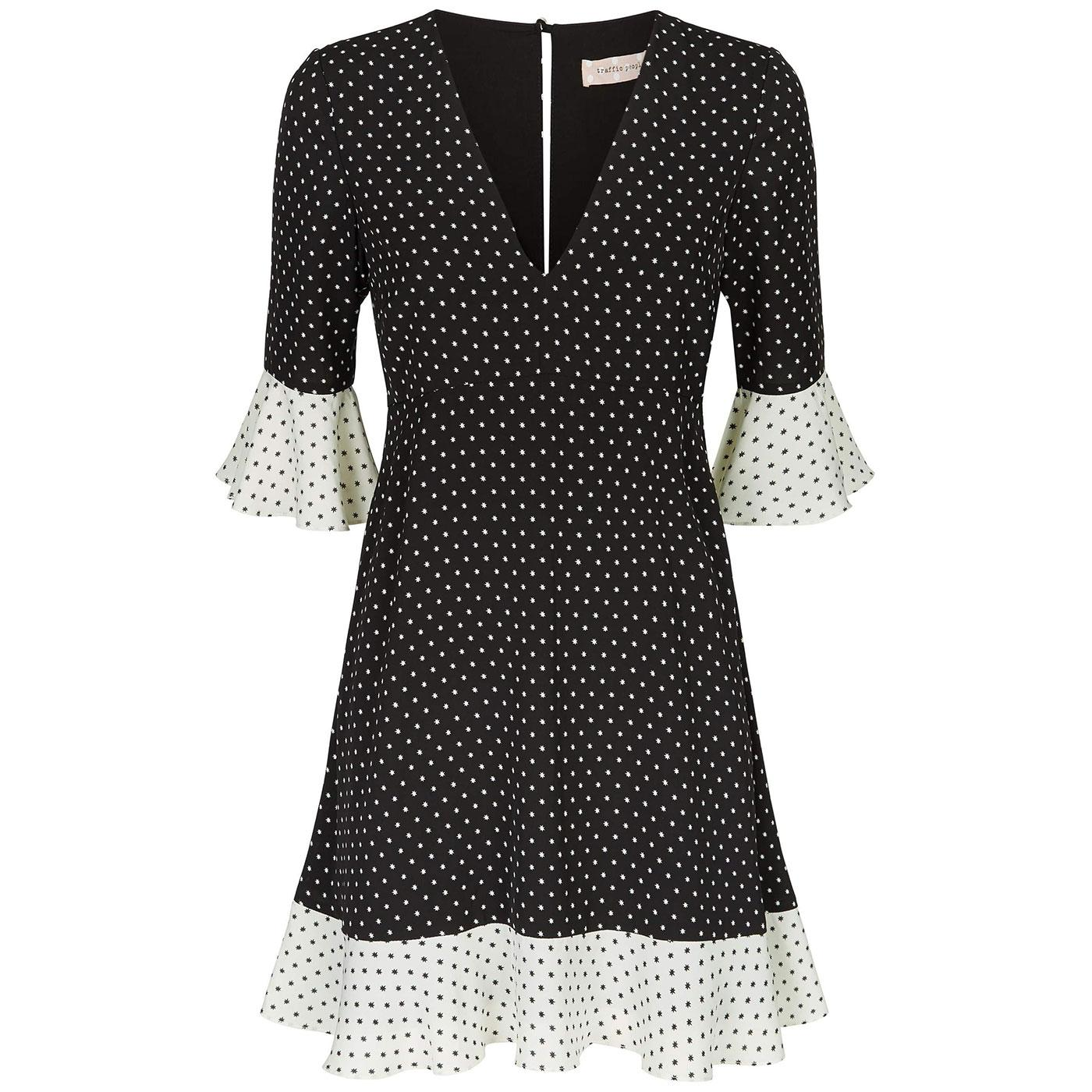 Frill TRAFFIC PEOPLE Star Print Retro Mini Dress