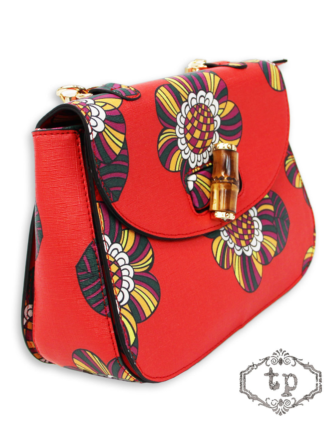 TRAFFIC PEOPLE Retro 60s Flower Saddle Bag RED