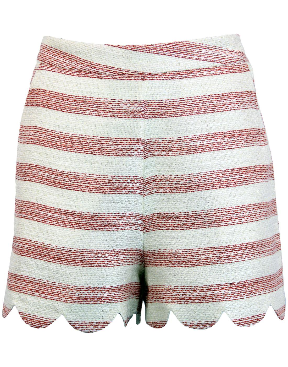 TRAFFIC PEOPLE Retro 1960s Striped Scallop Shorts