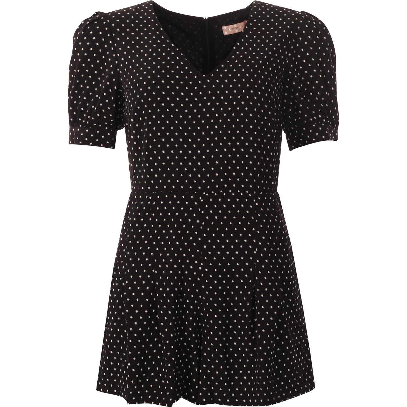 TRAFFIC PEOPLE Retro 60s Star Print Playsuit BLACK