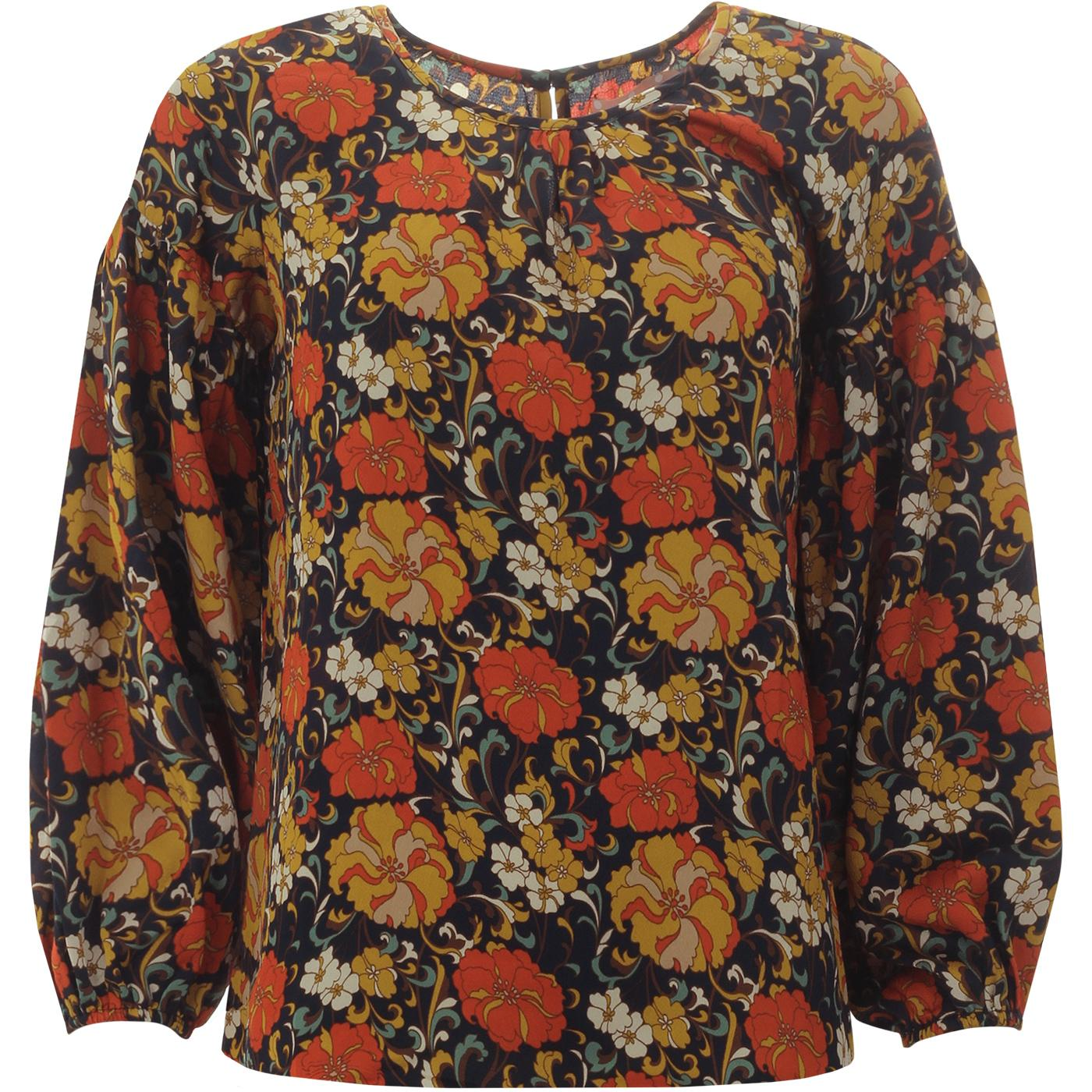Seasons TRAFFIC PEOPLE Oversized Floral Top NAVY
