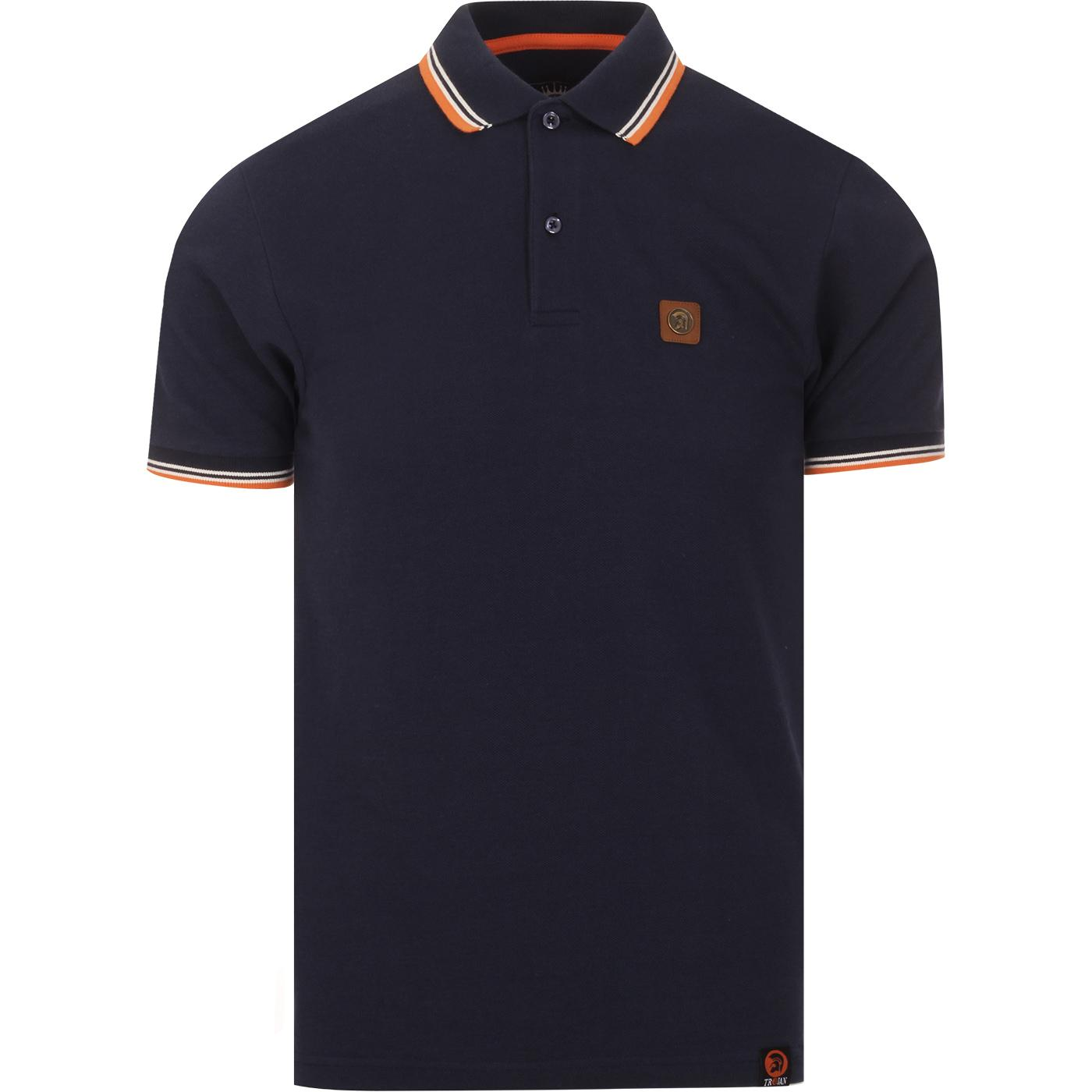 TROJAN RECORDS Mens Mod Ska Tipped Pique Polo NAVY