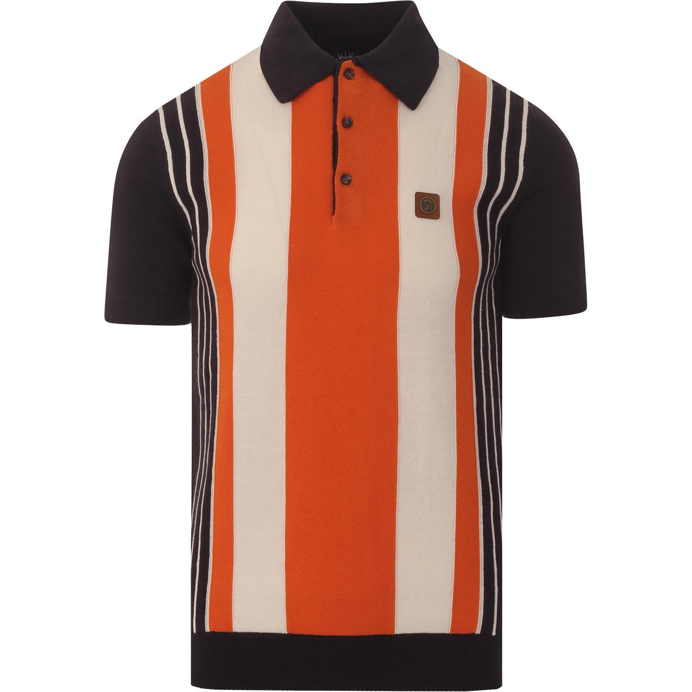 TROJAN RECORDS Mod Stripe Knit Panel Polo (Black)