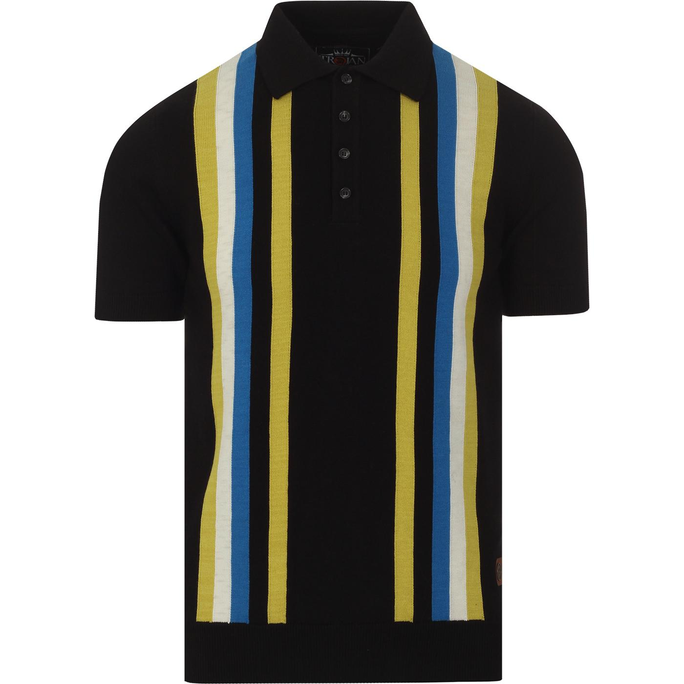 TROJAN RECORDS Mod Multi Stripe Knit Polo Top (B)