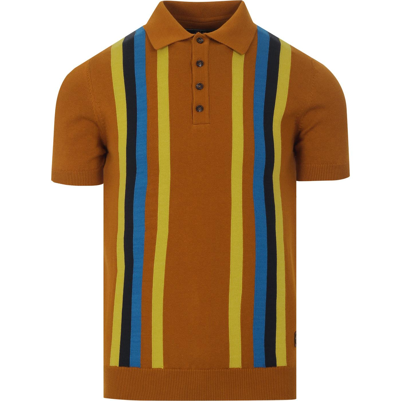 TROJAN RECORDS Mod Multi Stripe Knit Polo Top (GT)