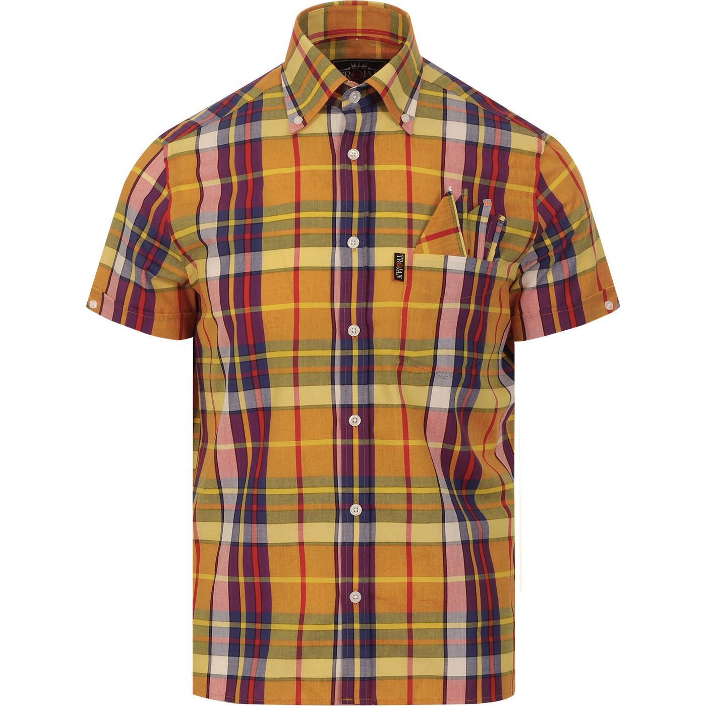 TROJAN RECORDS Mod Ska Madras Check Shirt (Gold)