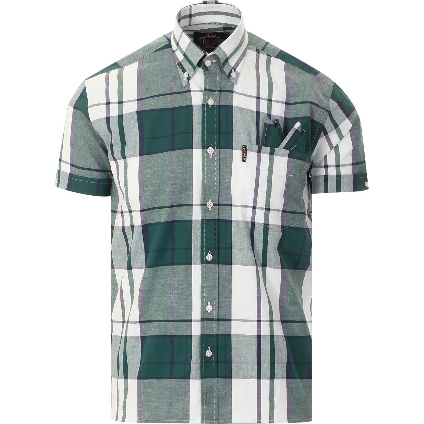 TROJAN RECORDS Mod Oversize Check BD Shirt (Green)
