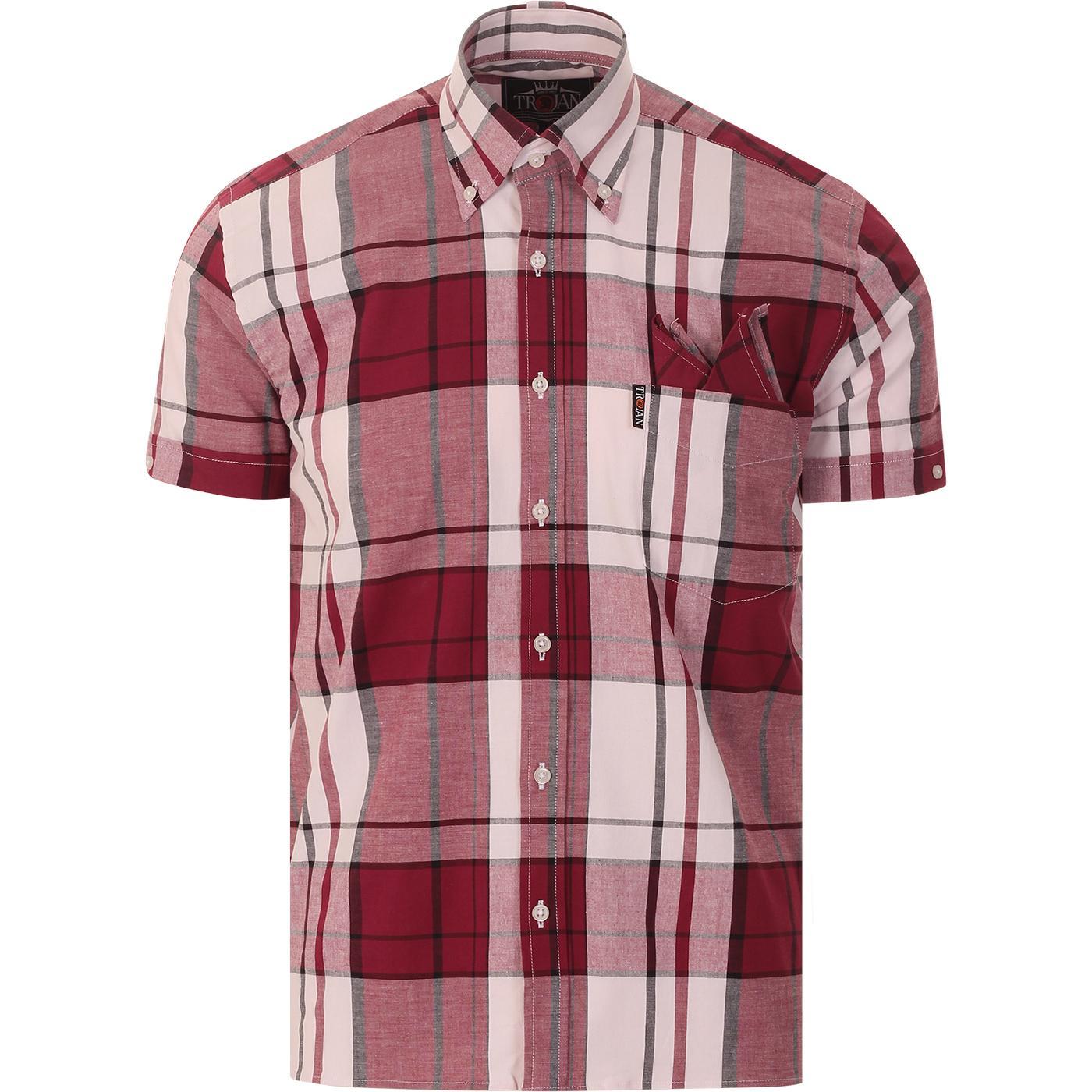 TROJAN RECORDS Mod Oversize Check BD Shirt (Port)