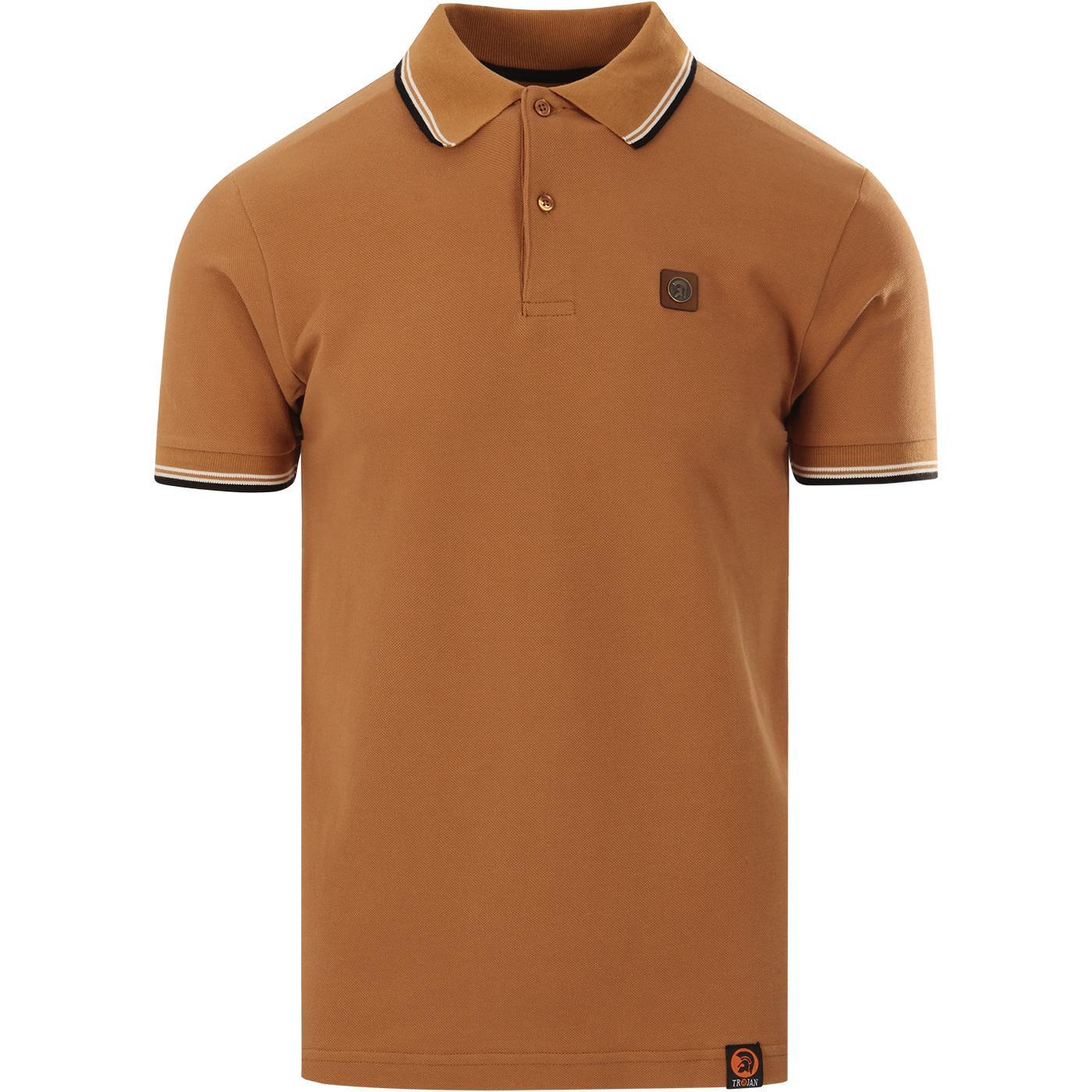 TROJAN RECORDS Classic Tipped Mod Polo Shirt TAN