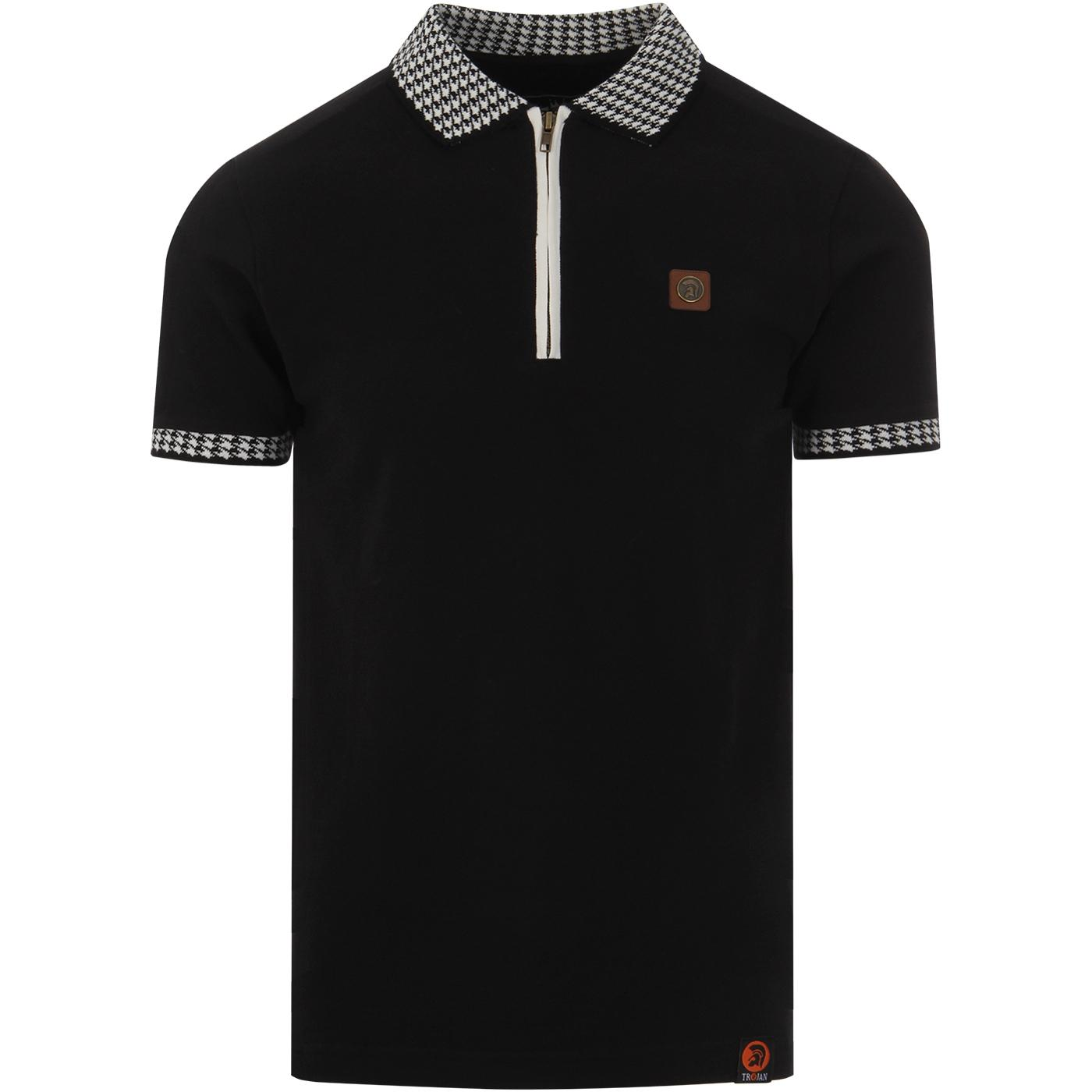 TROJAN RECORDS Retro Mod Zip Neck Pique Polo B