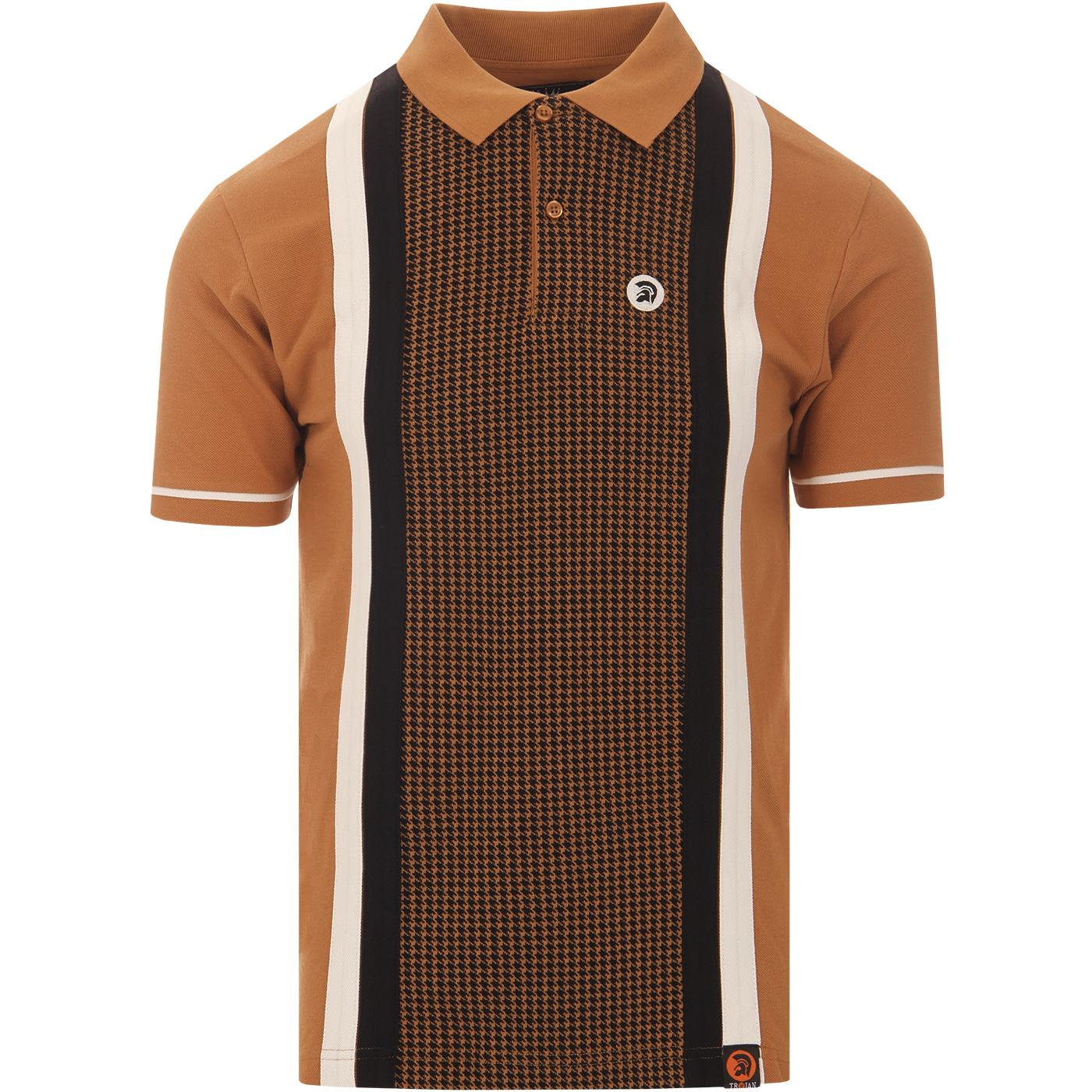 TROJAN RECORDS Mod Cut & Sew Dogtooth Panel Polo T
