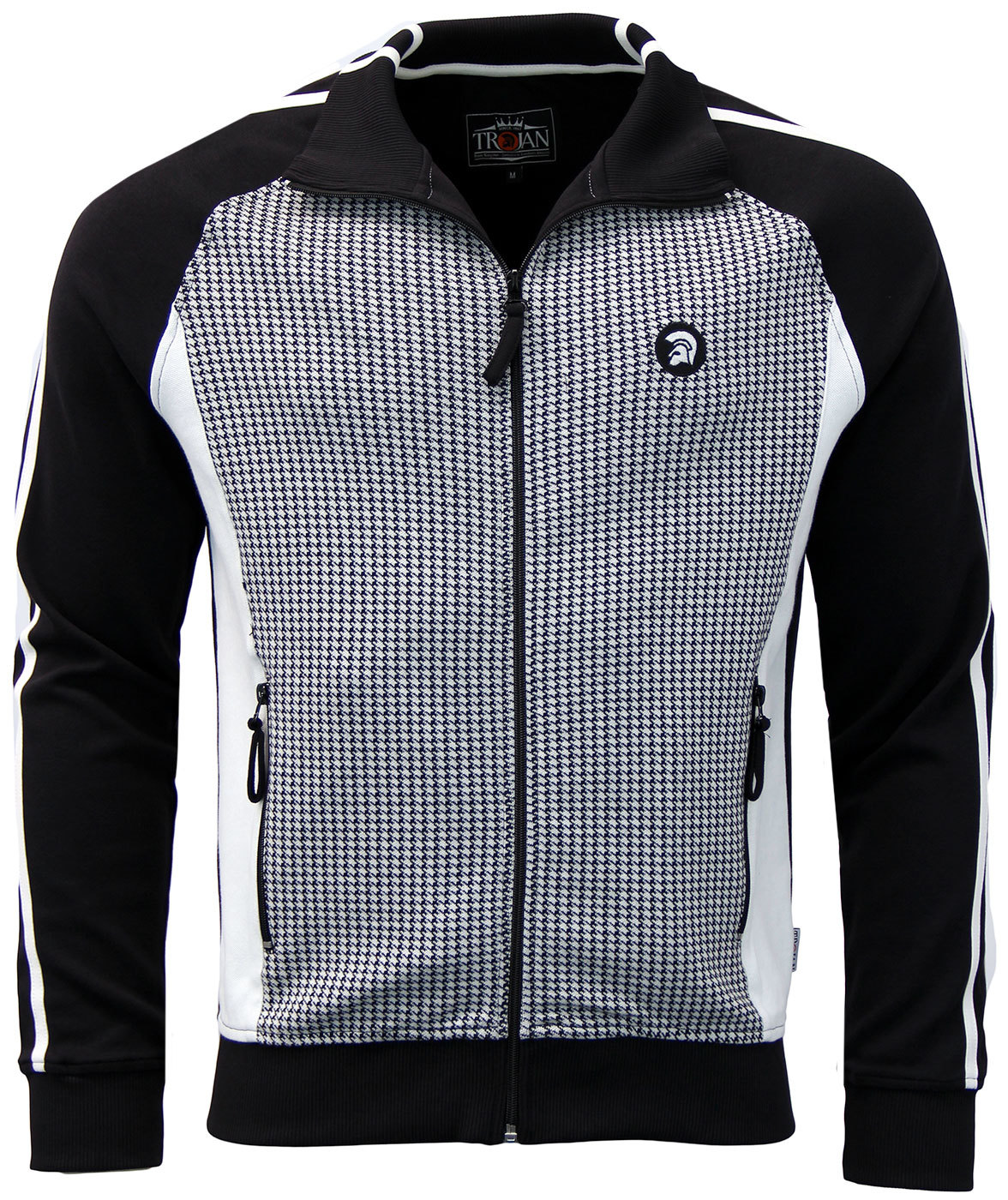 TROJAN RECORDS Retro Mod Dogtooth Panel Track Top