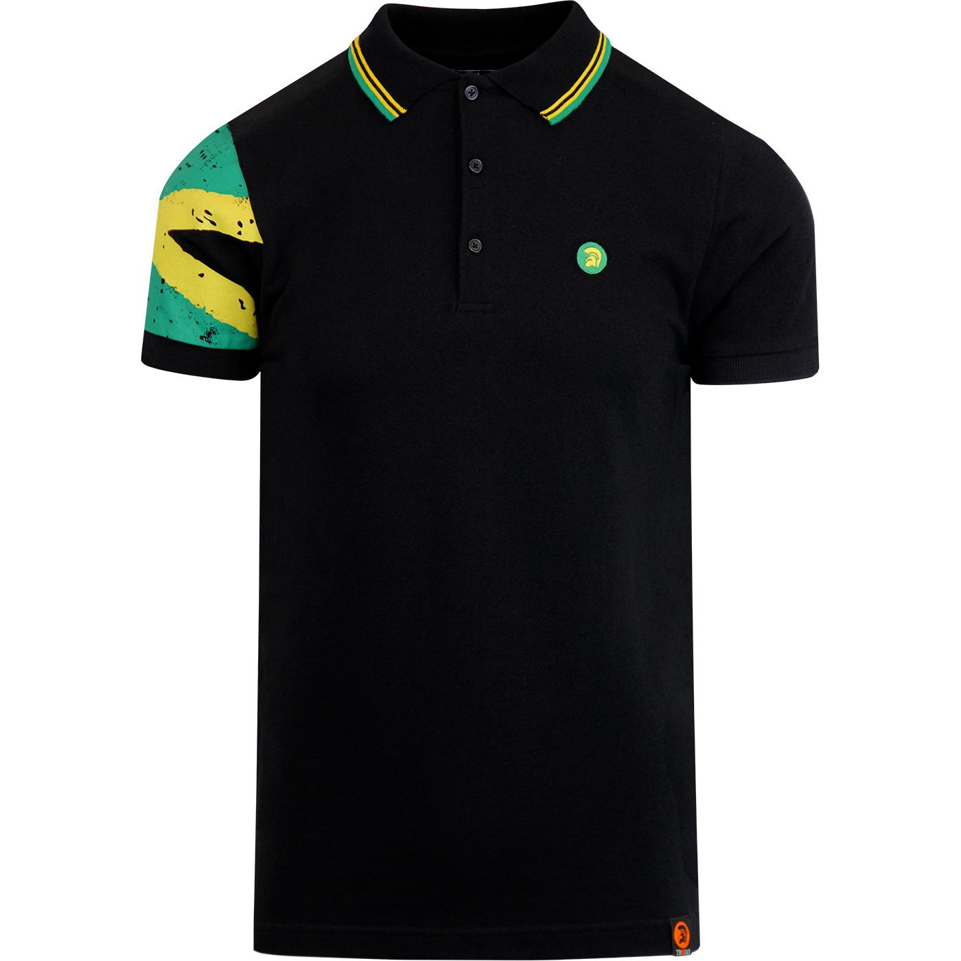 TROJAN RECORDS Mod Ska Jamaica Flag Sleeve Polo