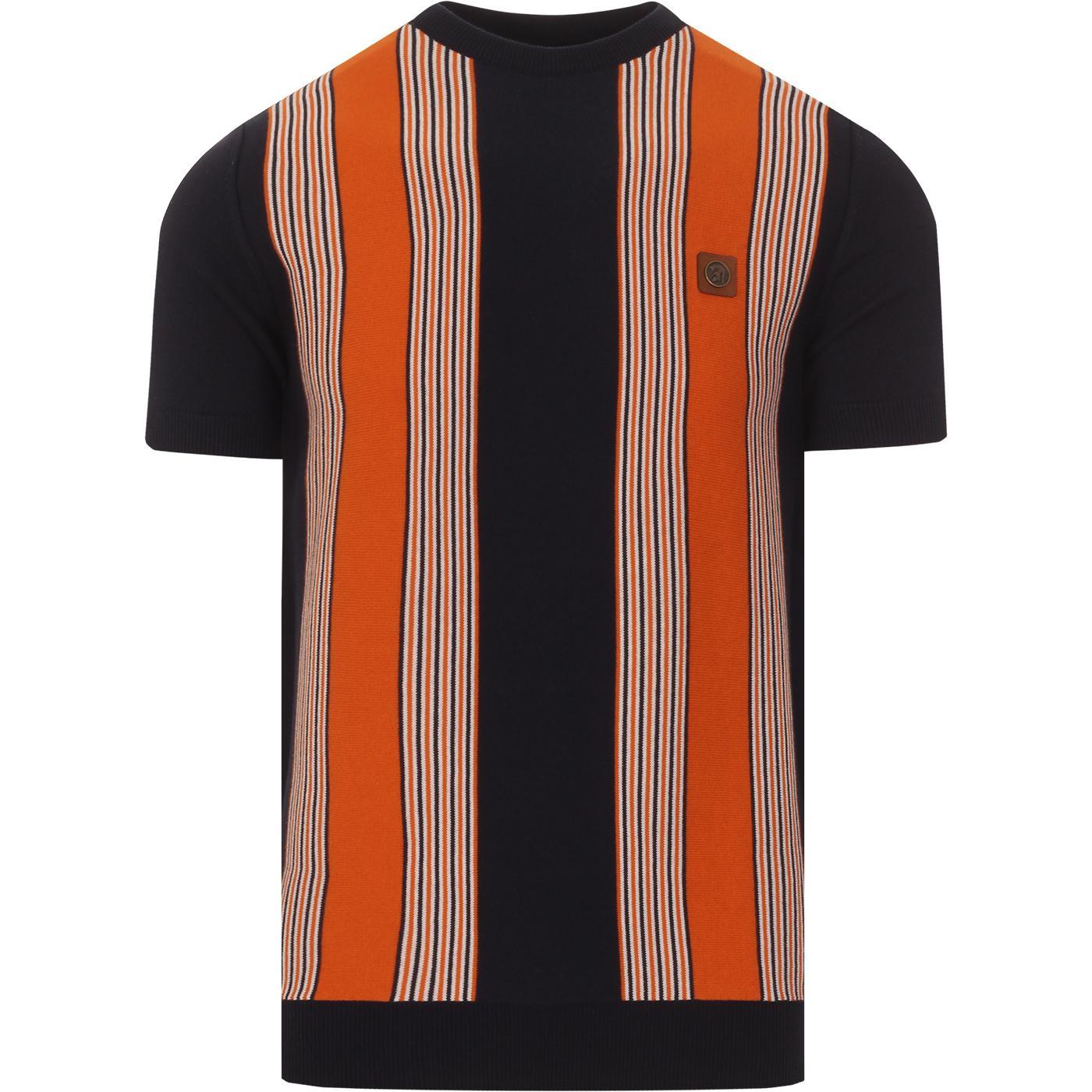 TROJAN RECORDS Retro Mod Stripe Knit Tee (Navy)