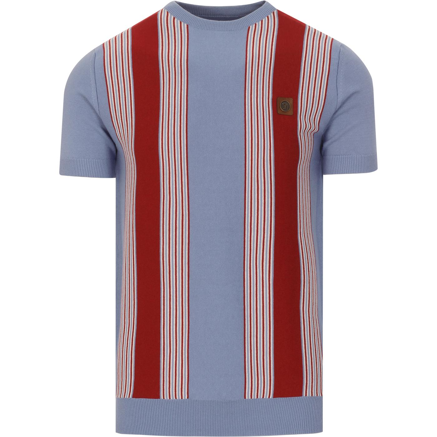 TROJAN RECORDS Retro Mod Stripe Knit Tee (Sky)