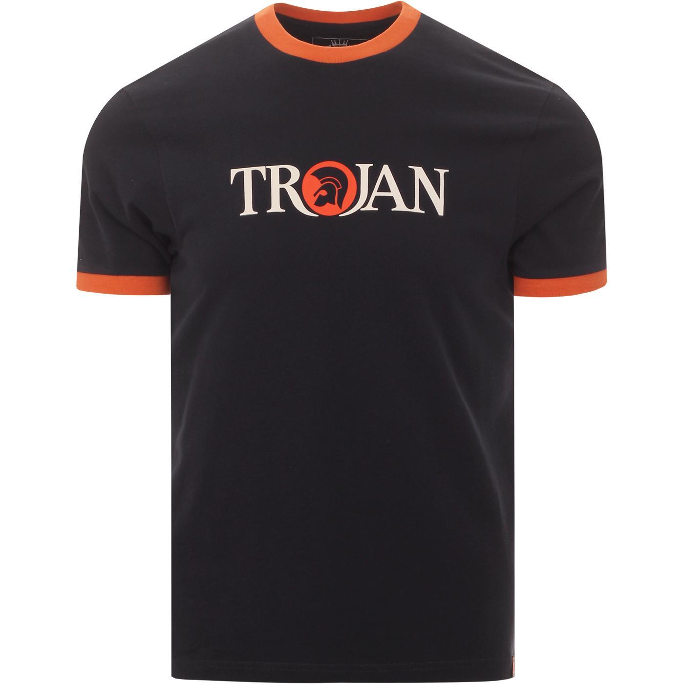 TROJAN RECORDS Retro Logo Ringer T-Shirt (Navy)