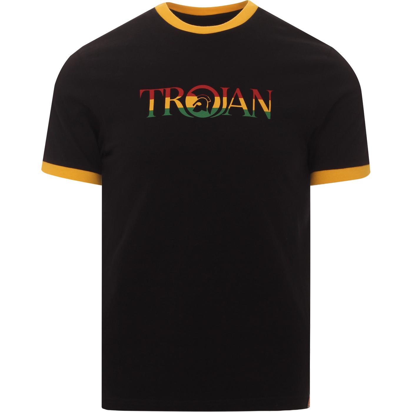 TROJAN RECORDS Retro Logo Ringer T-Shirt (Rasta)
