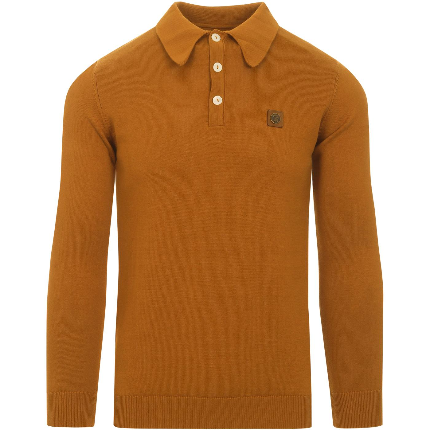 TROJAN RECORDS Men's Mod Knitted Polo Shirt (Tan)