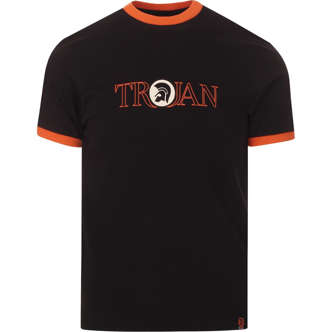 TROJAN RECORDS Retro Outline Logo Ringer T-Shirt B