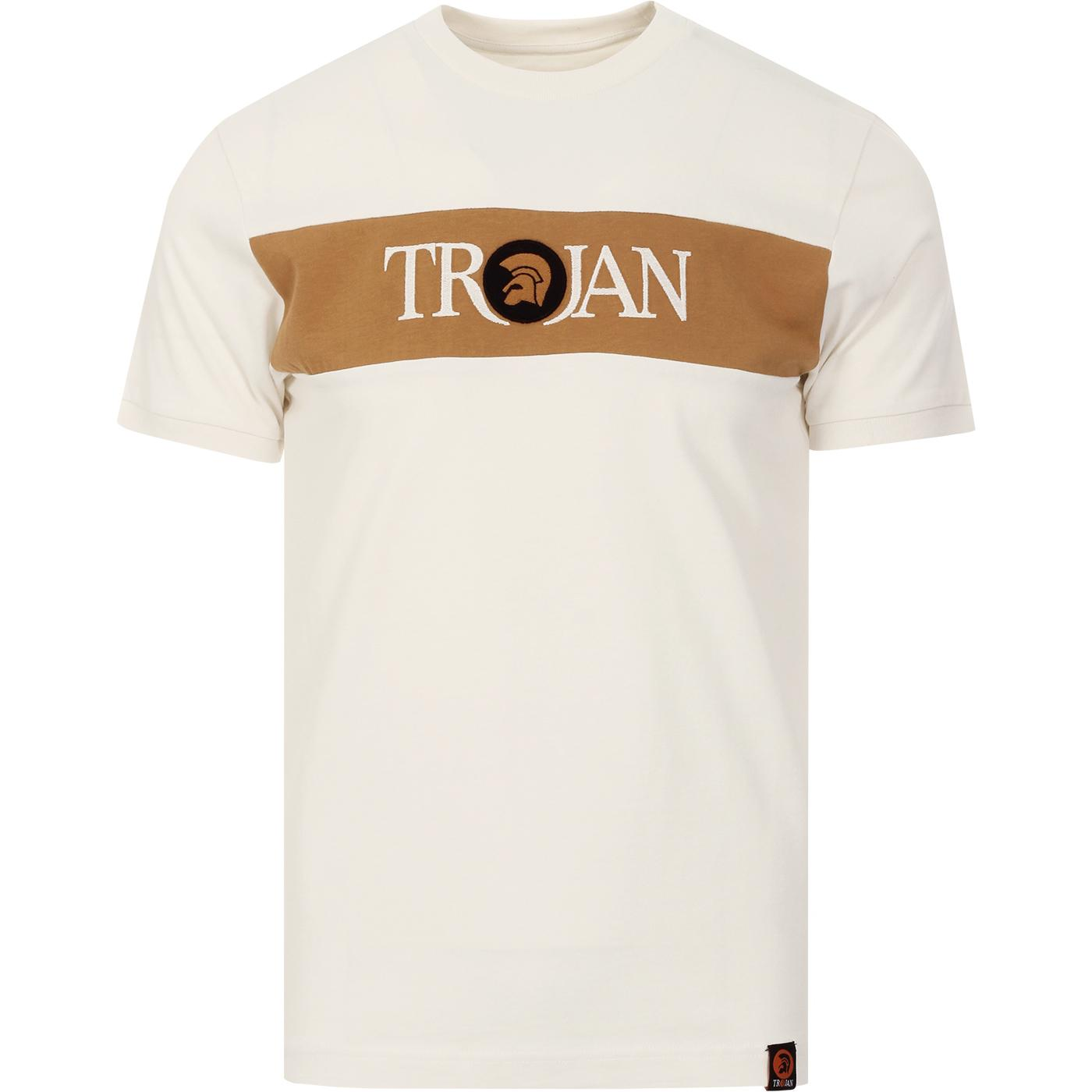 TROJAN RECORDS Mod Block Stripe Signature Tee ECRU