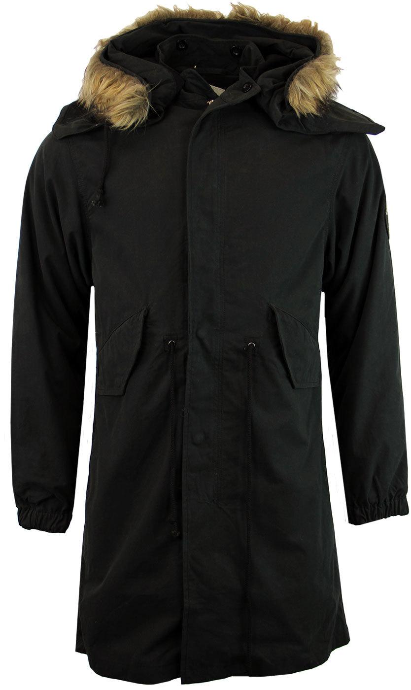 TROJAN RECORDS Retro 1960s Mod Fishtail Parka Coat in Black