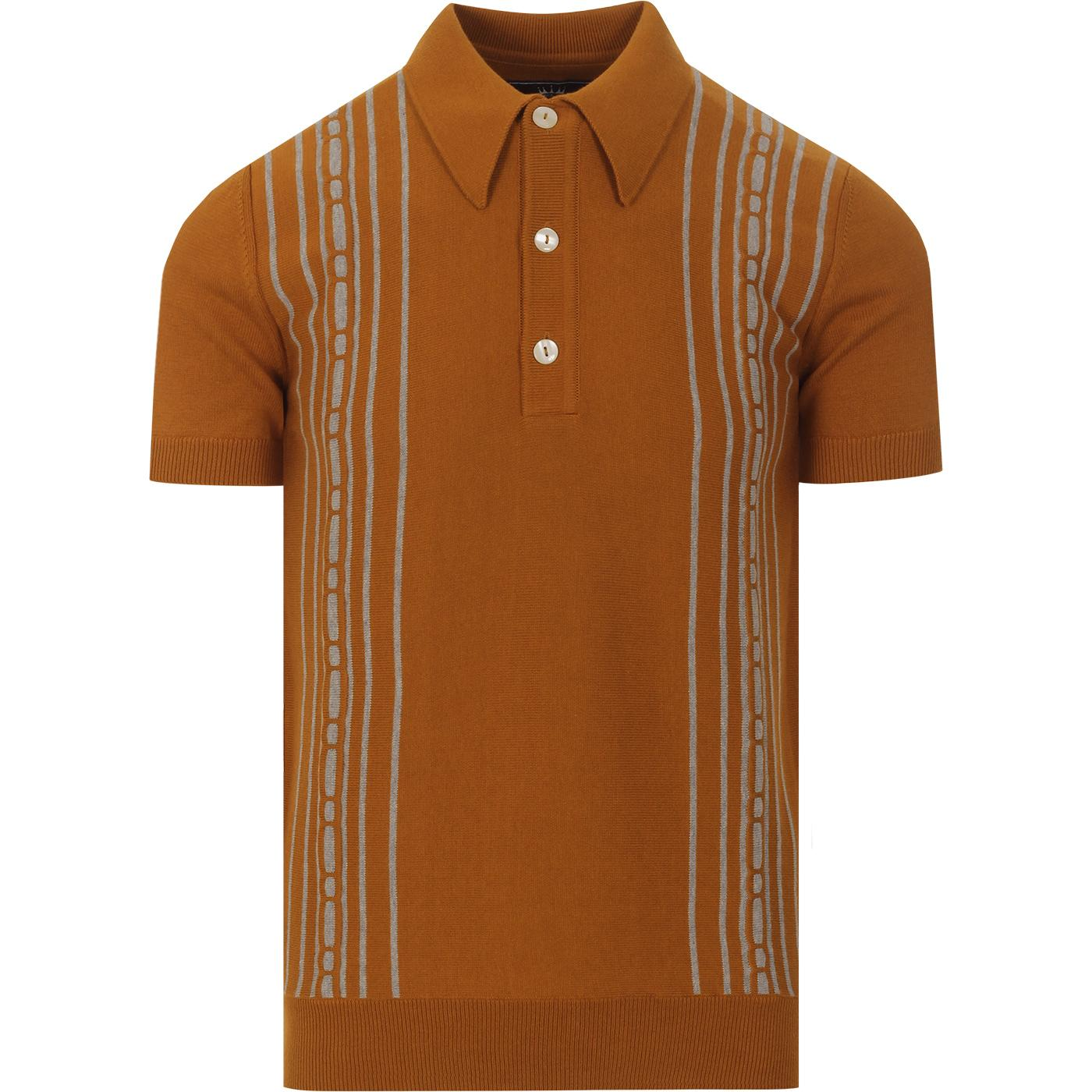 TROJAN RECORDS Mod Texture Dash Stripe Polo (Tan)